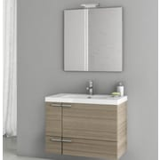 ACF New Space 31.3'' Single Bathroom Vanity Set w/ Mirror; Larch Canapa