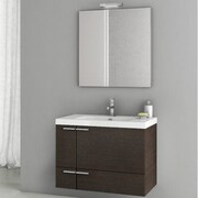 ACF New Space 31.3'' Single Bathroom Vanity Set w/ Mirror; Wenge