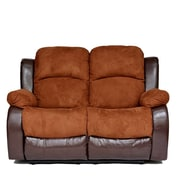 Madison Home USA Traditional 2 Tone Reclining Loveseat; Brown