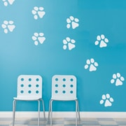 Wallums Wall Decor Dog Paw Prints Wall Decal (Set of 28); White