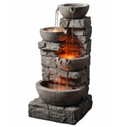 Peaktop Resin Outdoor Stacked Stone Tiered Bowls Fountain w/ LED Light