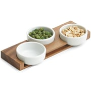 Woodard & Charles 4 Piece Acacia Wood/Ceramic Pinch Bowl Set