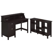 Bush Furniture Broadview Collection Single Pedestal Desk, Organizer and 6 Cube Bookcase