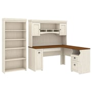 Bush Furniture Fairview L Shaped Desk with Hutch and 5 Shelf Bookcase, Antique White (FV005AW)