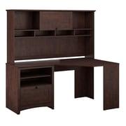 Bush Furniture Buena Vista Corner Desk & 60W Hutch, Madison Cherry