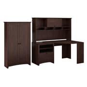 Bush Furniture Buena Vista Corner Desk with 60W Hutch & 2-Door Tall Storage, Madison Cherry