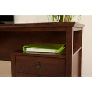 Bush Furniture Buena Vista Single Pedestal Desk & 6-Cube Storage, Madison Cherry