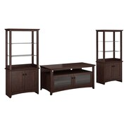 Bush Furniture Buena Vista TV Stand for TVs up to 50W and Set of (2) 2-Door Tall Library Storage, Madison Cherry