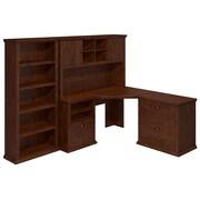 Bush Yorktown 60W Corner Desk with Hutch, Lateral File and Bookcase