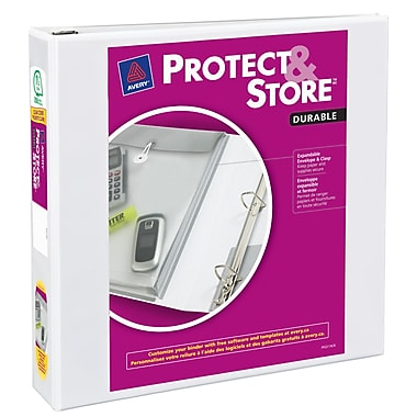 Avery Protect and Store 1.5-Inch 3-Ring View Binder, White (23001)