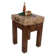 John Boos American Heritage Prep Table w/ Butcher Block Top; Warm Cherry