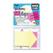 REDI-TAG CORPORATION Arrow Flags, Supersize, 2-9/16''x2-1/4'', 60 per Pack, Neon Yellow/Pink