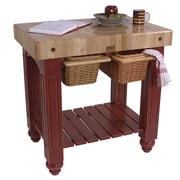 John Boos American Heritage Prep Table w/ Butcher Block Top; Alabaster White by