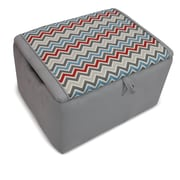 KidzWorld Mixy Kids Suede Ottoman w/ Storage Compartment; Pewter Natural Silver