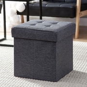 The Final Grab Inc. Foldable Tufted Storage Ottoman; Charcoal