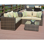 DirectWicker Zoe 4 Piece Sofa Seating Group w/ Cushion