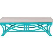 David Francis Furniture Bridgeport Rattan Bedroom Bench; Turquoise