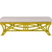 David Francis Furniture Bridgeport Rattan Bedroom Bench; Sunflower Yellow