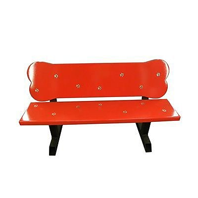 OFAB Dog Bone Aluminum Park Bench; Red
