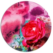 DesignArt 'Red Rose on Abstract Paper' Painting Print on Metal; 11'' H x 11'' W x 1'' D