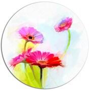 DesignArt Still Life Cute Red Gerbera Flowers Oil Painting Print on Metal; 11'' H x 11'' W x 1'' D