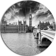 DesignArt 'Westminster Palace in Gray Shade' Photographic Print on Metal; 11'' H x 11'' W x 1'' D