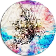 DesignArt Floral 'Blue Paper Flower and Flame' Graphic Art on Metal; 11'' H x 11'' W x 1'' D