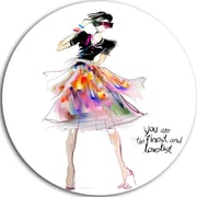 DesignArt 'Colorful Pretty Fashion Girl' Graphic Art Print on Metal; 11'' H x 11'' W x 1'' D