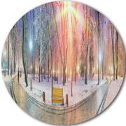 DesignArt Landscape Circle 'Beautiful Mariinsky Garden View' Photographic Print on Metal Wall Art