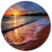 DesignArt Foaming Waves at Beautiful Sunset Photographic Print on Metal; 11'' H x 11'' W x 1'' D