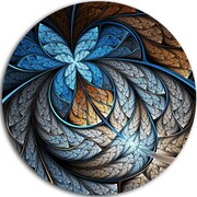 DesignArt 'Blue Brown Fractal Flower Pattern' Graphic Art Print on Metal; 11'' H x 11'' W x 1'' D