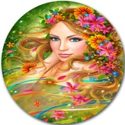 DesignArt 'Fairy Woman w/ Colorful Flowers' Graphic Art Print on Metal; 11'' H x 11'' W x 1'' D