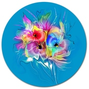 DesignArt Summer Colorful Flowers on Blue Oil Painting Print on Metal; 11'' H x 11'' W x 1'' D