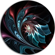 DesignArt Blue Abstract Floral Shapes Graphic Art Print on Metal; 11'' H x 11'' W x 1'' D