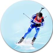 DesignArt 'Professional Male Skier' Graphic Art Print on Metal; 11'' H x 11'' W x 1'' D