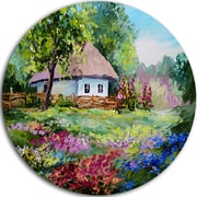 DesignArt 'House in the Village' Oil Painting' Print on Metal; 11'' H x 11'' W x 1'' D