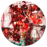 DesignArt Red Flowers Abstract Background Drawing Print on Metal; 11'' H x 11'' W x 1'' D