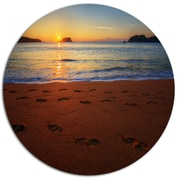 DesignArt Foot printed Sandy Ocean Beach Photographic Print on Metal; 11'' H x 11'' W x 1'' D