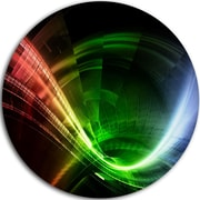 DesignArt Abstract Disc 'Fractal 3D Colorful Tunnel' Graphic Art on Metal; 11'' H x 11'' W x 1'' D
