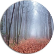 DesignArt Designart 'Misty Trail in Autumn Forest' Landscape Photo Circle Wall Art