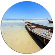 DesignArt Traditional Thai Boat on Beach Photographic Print on Metal; 11'' H x 11'' W x 1'' D