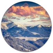 DesignArt Winter Alpine Sunset over Hills Photographic Print on Metal; 11'' H x 11'' W x 1'' D
