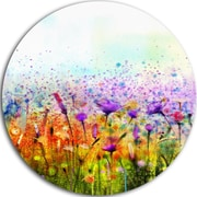 DesignArt 'Abstract Cosmos of Colorful Flowers' Flower Large Oil Painting Print on Metal