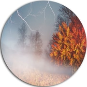 DesignArt 'Storm and Lighting in Autumn Forest' Photographic Print on Metal; 11'' H x 11'' W x 1'' D