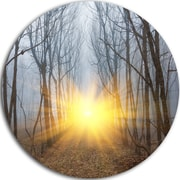 DesignArt 'Yellow Sun Rays in Misty Forest' Photographic Print on Metal; 11'' H x 11'' W x 1'' D