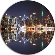 DesignArt 'New York City Skyscrapers in Blue Shade' Cityscape Photographic Print on Metal