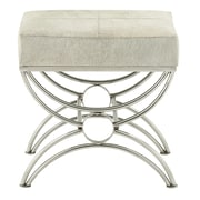 Cole & Grey Stainless Steel and Leather Accent stool; Gray
