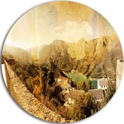 DesignArt 'Mountain and Lofty Lake' Landscape Photo Round Wall Art; 11'' H x 11'' W x 1'' D