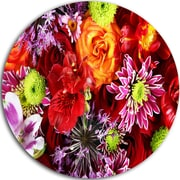 DesignArt Colorful Flowers Background Graphic Art Print on Metal; 11'' H x 11'' W x 1'' D