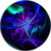DesignArt Bright Blue Abstract Floral Shapes Graphic Art Print on Metal; 11'' H x 11'' W x 1'' D